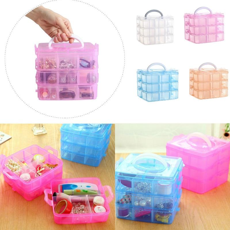 3 camadas 18 grades caixa de armazenamento caixas de jóias caso do grânulo recipiente plástico artesanato organizador
