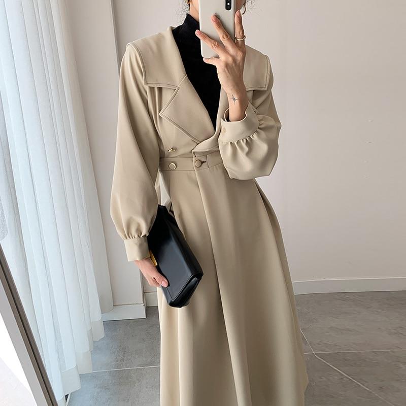 Overcoat Women Korean Chic French Style Suit Collar Side Buckle Waist Slim Long Sleeve Knee Length W