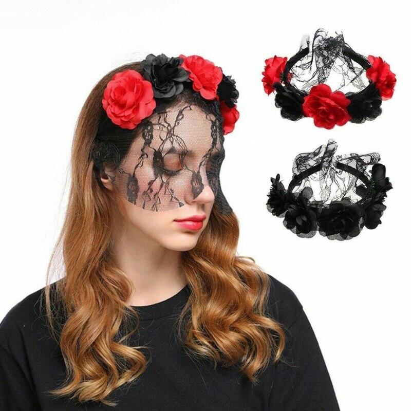 2019 tendência quente das mulheres dia das bruxas dos mortos laço floral rosa flor festival bandana chegada única nova hairband headwear