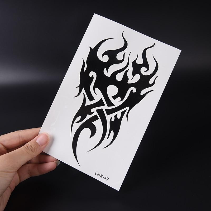 Desechables brillo impermeable Tribal tótems negro Drgon fuego falso tatuajes temporarios de transferencia de agua pegatinas 19*12cm