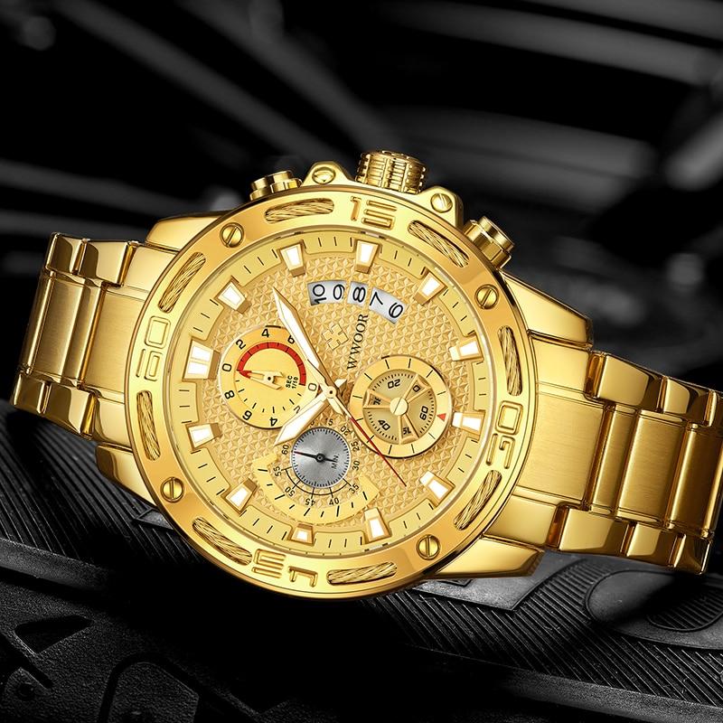 WWOOR 2021 New Men Watches Top Brand Luxury Gold Stainless Steel Quartz Watch Men Waterproof Sport Chronograph Relogio Masculino
