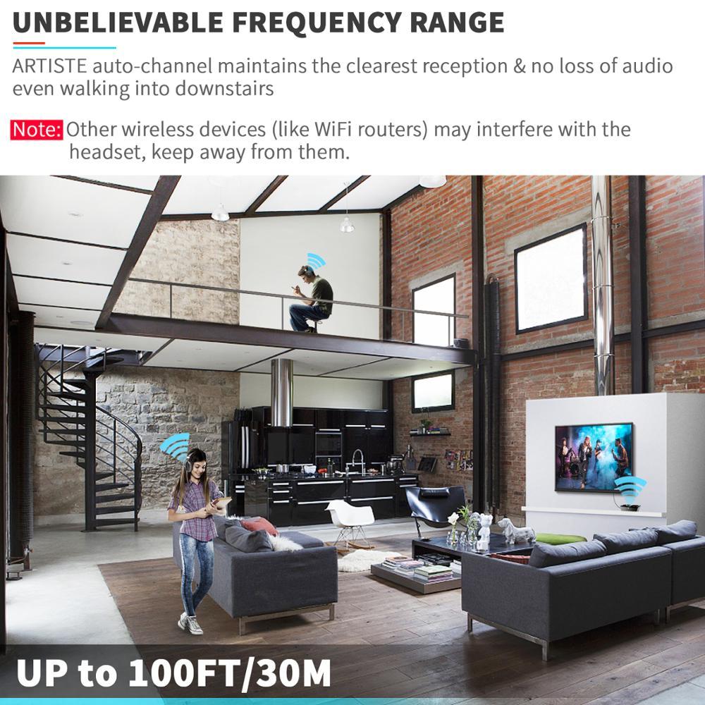 Wireless TV Headphones, Artiste ADH300 2.4GHz Digital Over-Ear Stereo Headphone for TV 100ft Distance Transmitter Charging Dock enlarge