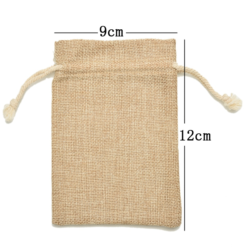 10 pièces 9*12cm cordon cravate sac Mini rustique toile de jute poche sac bijoux pochettes sacs noël sac rustique