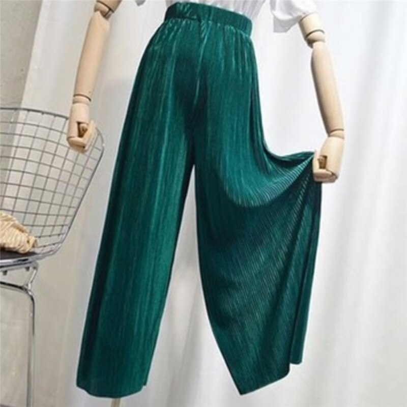 2020 spring summer new fashion women Vintage High waist Wide Leg Pants Women Full-Length Loose Soft Thin Pleated Pants Ladies
