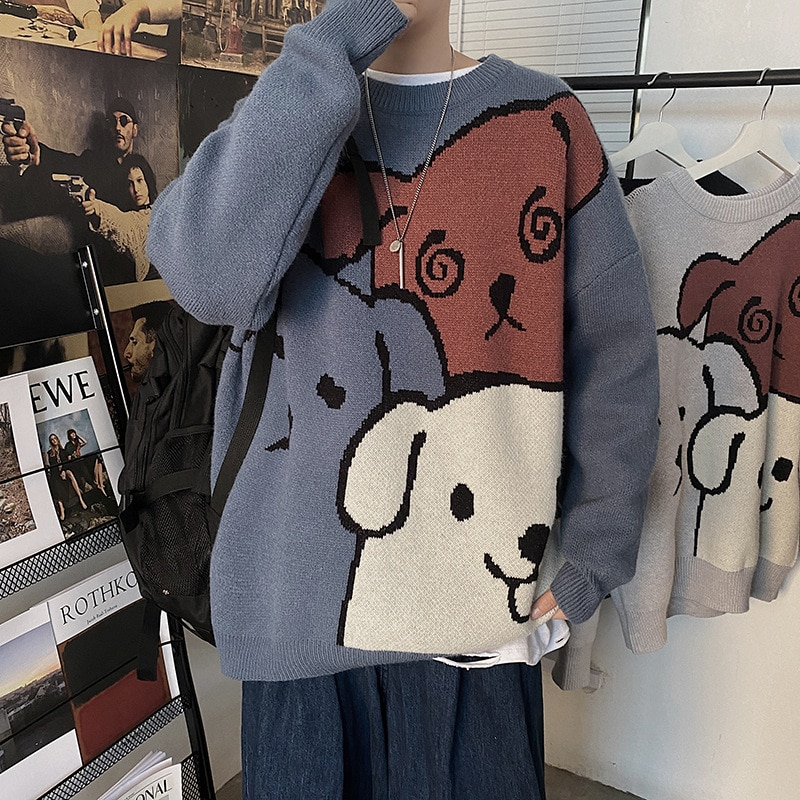 Фото - Sweater pullover autumn and winter new sweet pullover sweater male student Korean version loose cartoon sweater coat trend 2021 fall winter sweater men thickened korean fashion personality sweater lazy pullover sweater coat