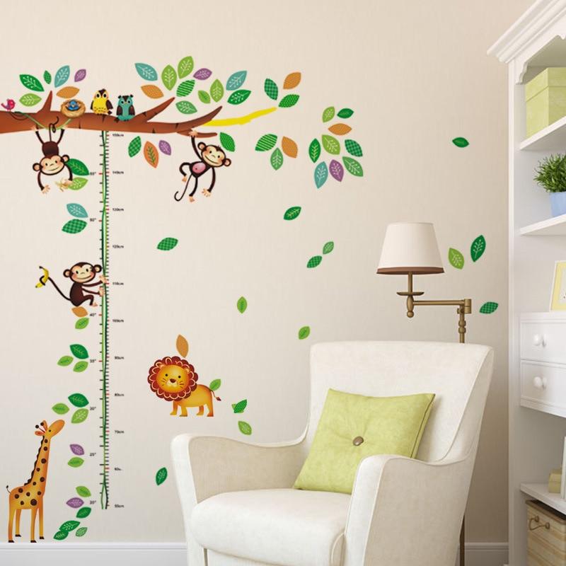 Removable Cartoon Giraffe Monkey Tree Kindergarten School Background Hight measurement paint paper WALL STICKER