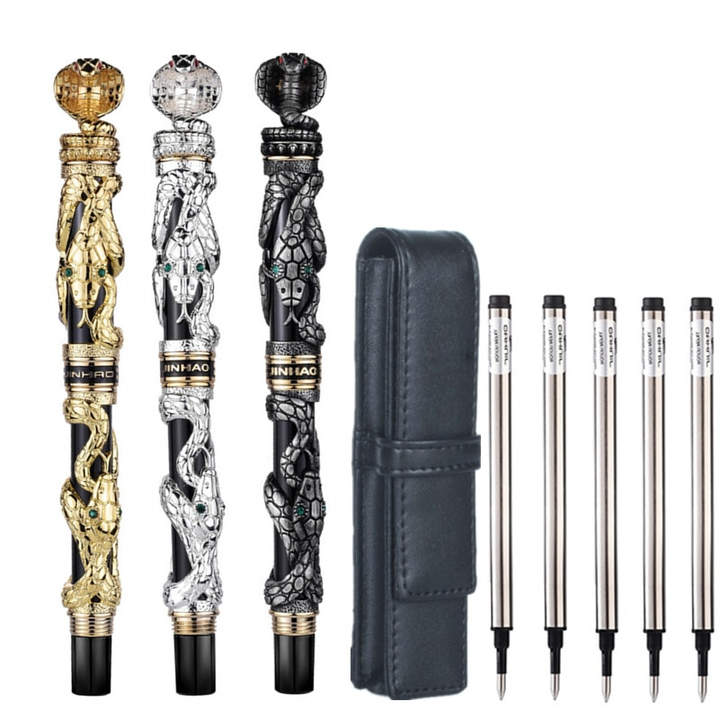 High Quality Luxury Jinhao Snake Ballpoint Pen 0.7MM Nib Novelty Cobra 3D Pattern Pen for Men Business Office Supplies Gift high quality jinhao metal snake fountain pen luxury calligraphy ink pen iraurita cobra 3d pattern gift 0 5 nib office supplies
