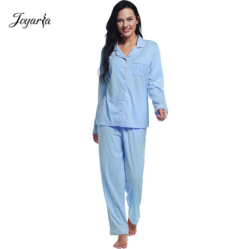 Женские пижамы с длинным рукавом Joyaria, пижамы из 100% хлопка с карманами и пуговицами