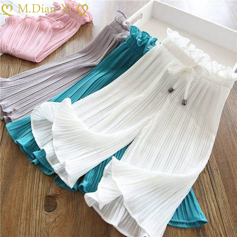 Girls Pants New Design Girls Children Chiffon Pants Girls Summer Casual Solid Color Waist Bandwidth Loose Wide Leg Pants 3-9Y