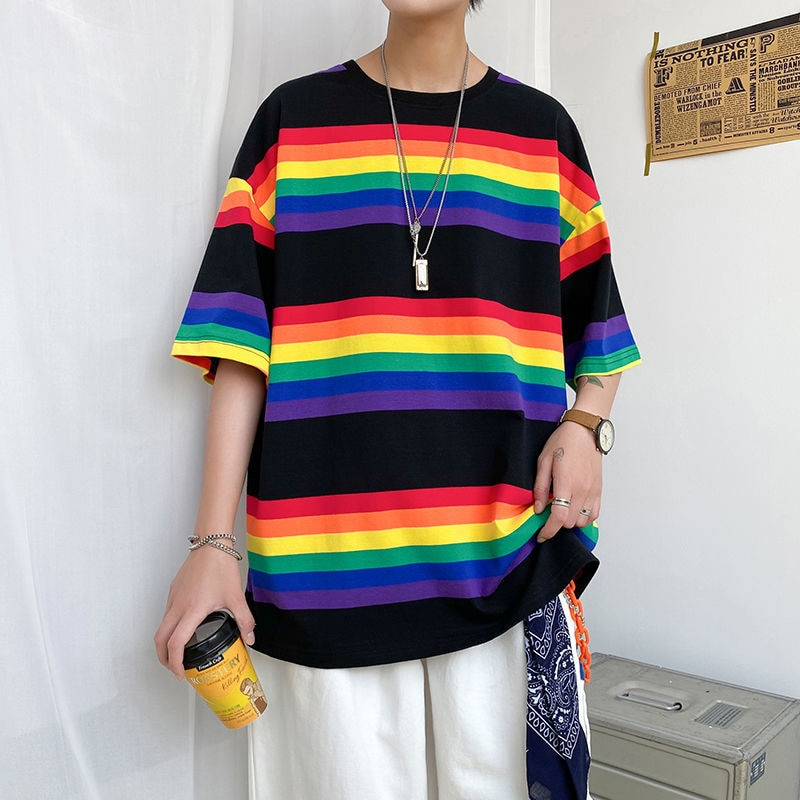 Summer Rainbow Cotton Men Tshirt Korean Striped Harajuku Short Sleeve Clothes 3xl Oversized Punk Japanese Streetwear Top Quality