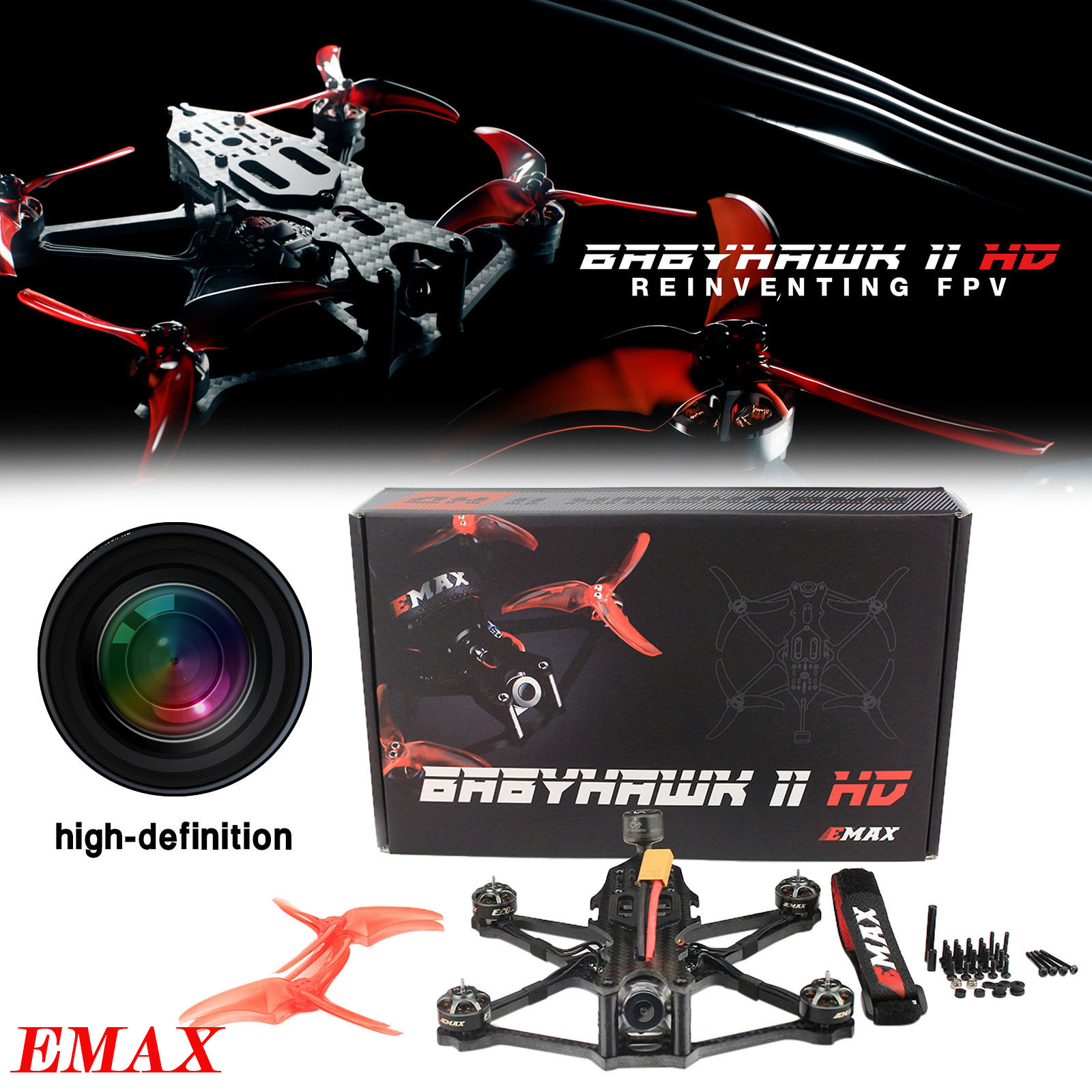 EMAX Remote Control Hd Camera Drone 155mm F4 4s Fpv Racing Drone Babyhawk Ii Hd D8/tbs/pnp Model Airplane Children's Toy Gift #K
