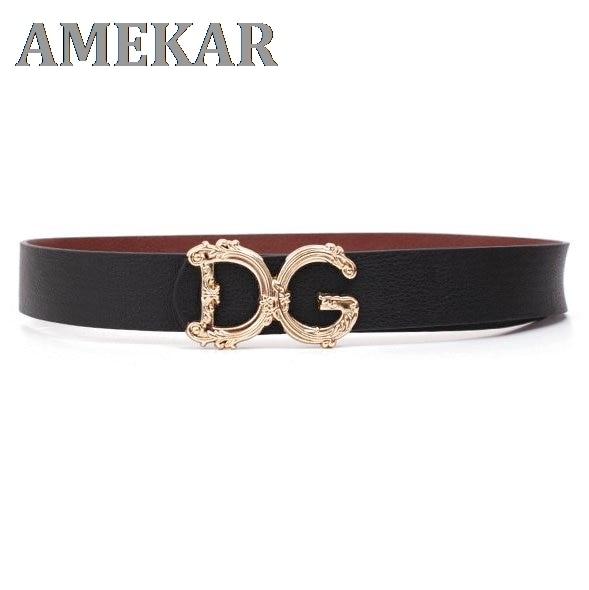 DG Belt DG Buckle Waist and Trouser Belt Black Leather Belt DG Trouser Belt Luxury Belt Unisex