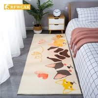 modern and simple short plush cartoon bedroom bedside carpet imitation wool living room sofa coffee table non slipdustremovalmat