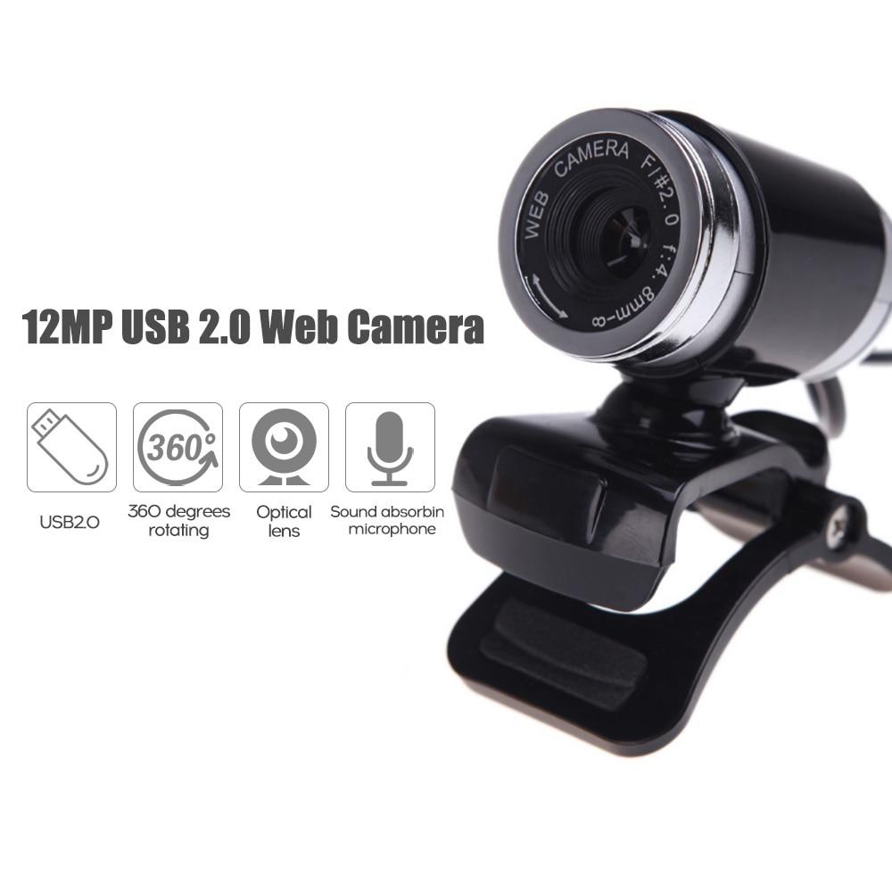 Webcam com câmera de microfone, 12mp usb 2.0 alta definição com base 60fps drive-free para chamada de vídeo do computador portátil