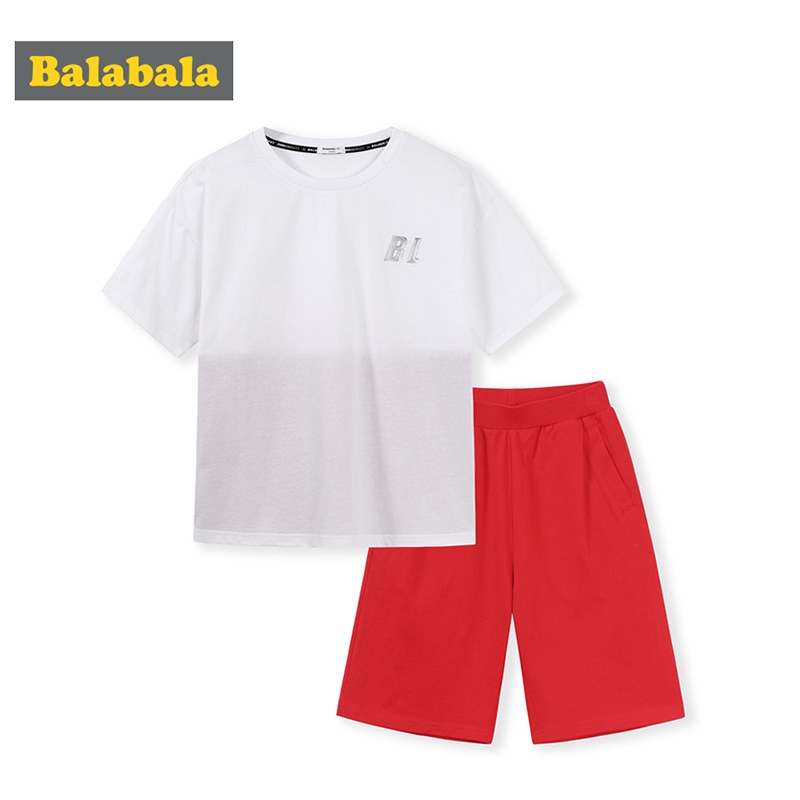 Balabala Boy set summer 2020 new children's two-piece cotton boy suit round neck T-shirt shorts loose and comfortable