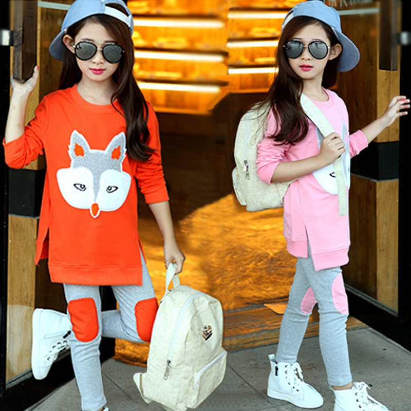 Children's Clothing Spring Autumn New Cotton Embroidered Fox Two-piece Set Girls' Suit Cartoon Shirt+Pants Fall Clothes