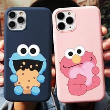 Cartoon Nette Sesam Cookie Monster Phone Cases Für iPhone 6 6s 7 8 Plus X XR XS Max SE2 TPU für iPhone 11 12 Pro Max 5 5S Abdeckung