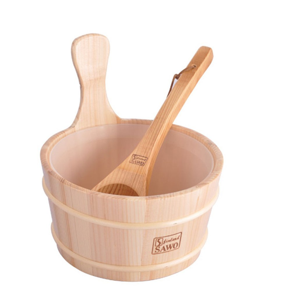 Bathroom Natural Sauna Bucket Wooden Spoon With Lined Portable Wooden Skin Weight Loss Sauna Tool Supplies Bath Shower Product