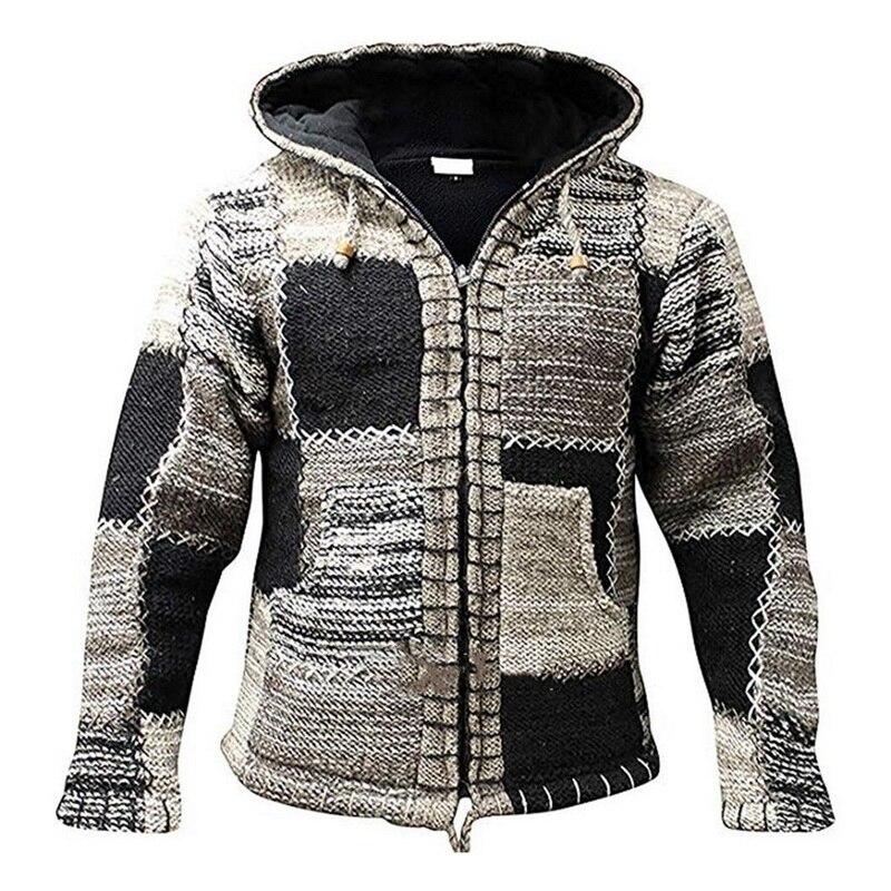 2020 hombres invierno moda retales de punto prendas de vestir abrigo suéter con bolsillo otoño hombres con capucha suéter Chaqueta de punto de lana puente