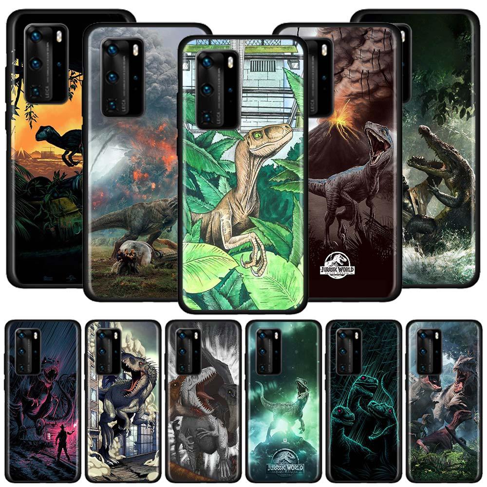 Parque Jurásico dinosaurio casos para Huawei P20 P40 Lite E P Smart Plus 2019 P30 Pro P10 negro carcasa de silicona para teléfono móvil bolsas