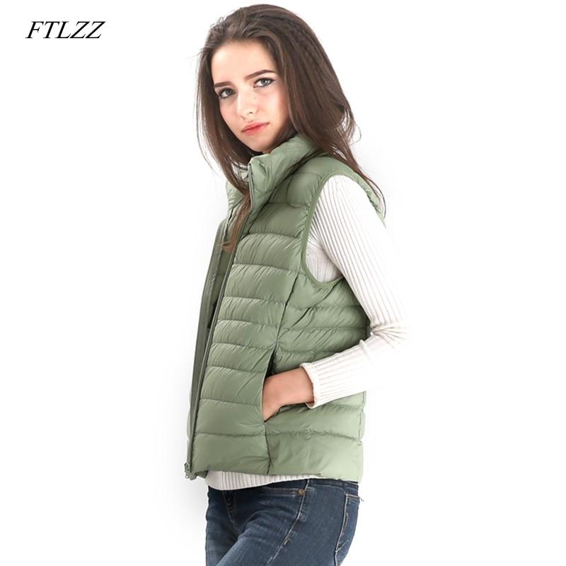 FTLZZ mujeres Ultra ligero blanco pato abajo chaleco mujer Slim sin mangas chaqueta mujer chaleco caliente a prueba de viento