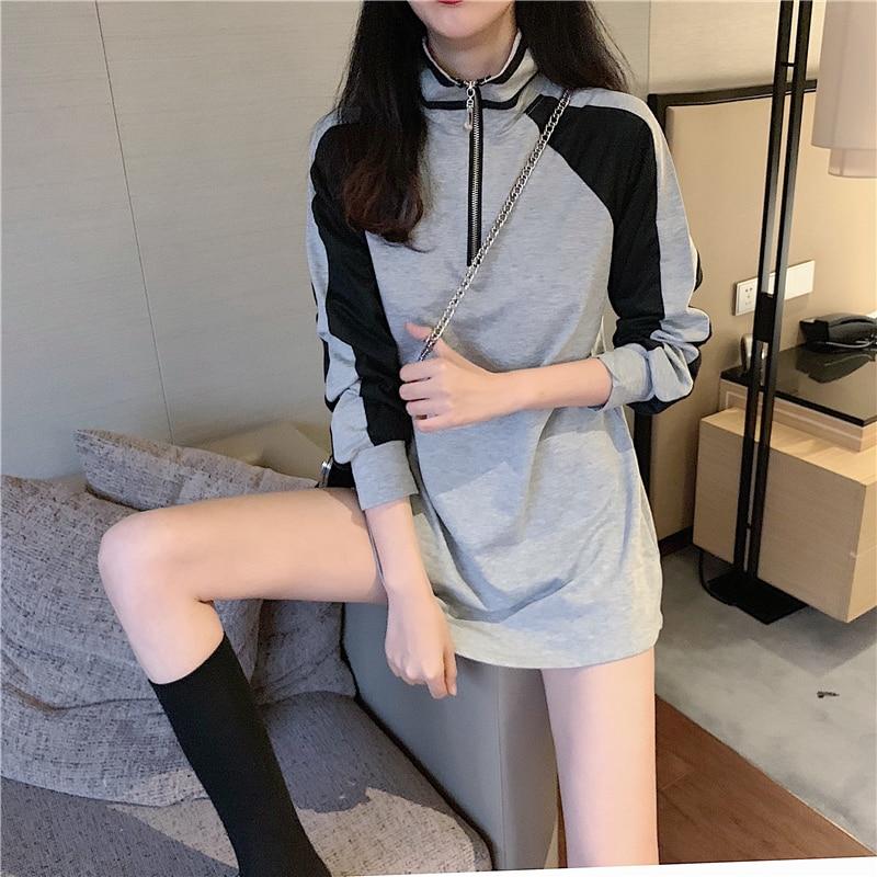 Новые стильные женские толстовки на молнии с воротником-стойкой, пуловер, универсальная блузка