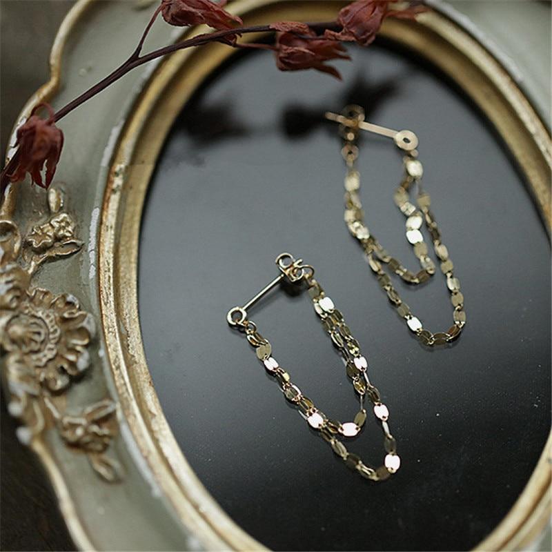 AliExpress - 925 Sterling Silver European Geometric Chain Tassel Earrings For Women Simple Temperament Goddess Jewelry Accessories Gift