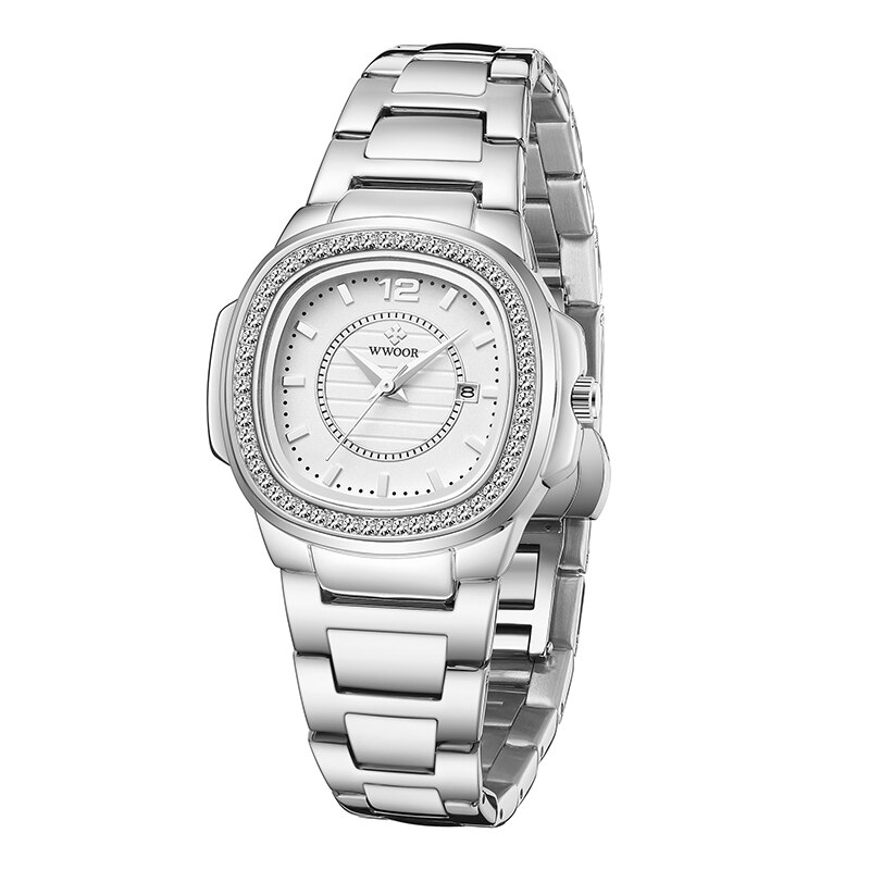 WWOOR Brand Silver Watches For Women Quartz Watch Luxury Elegant Casual Dress Ladies Wrist Watches Female Clock Relogio Feminino enlarge