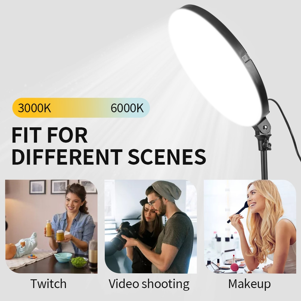 12 inch Photography LED Continuous Dimmable Video Light Panel 45W 3000k-6000k Fill Lamp with Stand for Makeup Selfie Live Stream enlarge