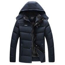 Grosso quente casaco de inverno com capuz casual masculino parka casaco de meia-idade sólida casaco masculino dom do pai outwear