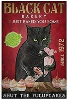 metal tin signvintage metal tin sign black cat tin sign for home coffee wall decor suitable for kitchens bars and clubs