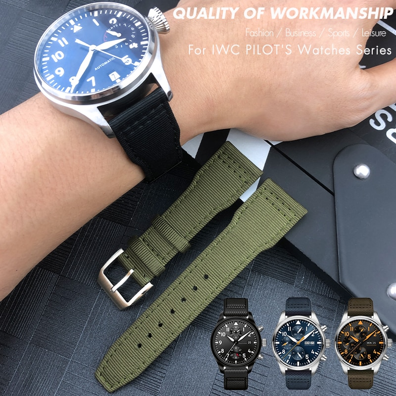 20mm 21mm 22mm Nylon Fabric Genuine Leather Watch band Fit for IWC watches Spitfire Pilot Mark 18 TO