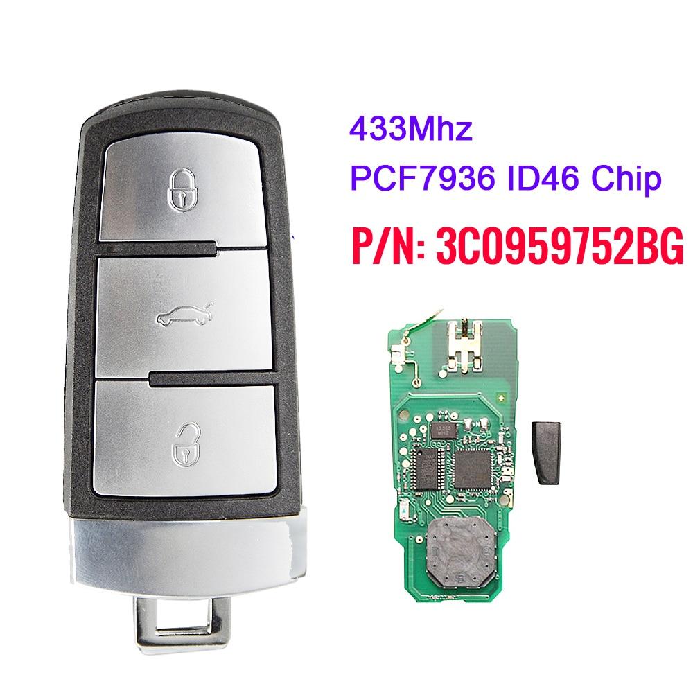 Xnrkey keyless controle remoto inteligente fob chave do carro 433mhz com id46 para volkswagen vw passat cc 2004-2015 3c0959752bg