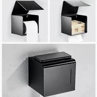 Porte-papier hygienique mat noir en aluminium salle de bain rouleau papier mural support de telephone portable porte-serviettes en papier boite de papier hygienique