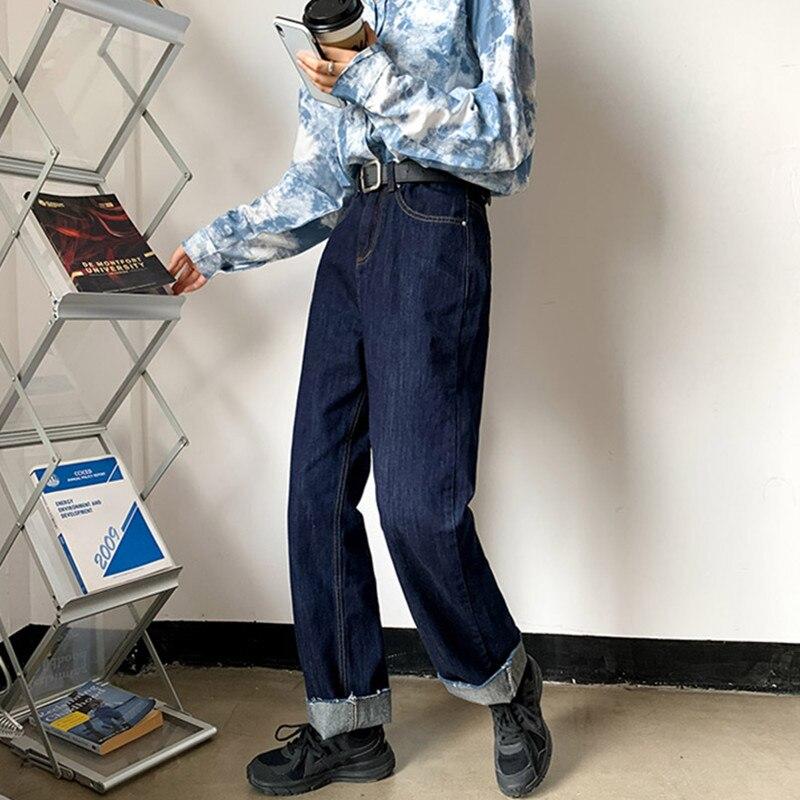 ملابس نسائية جينز بخصر عالٍ ملابس واسعة من قماش الدنيم ملابس زرقاء بجودة عالية موضة خريف 2020 سراويل مستقيمة هاراجوكو