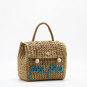 2021 New Hand Woven Bag Letter Straw Bag