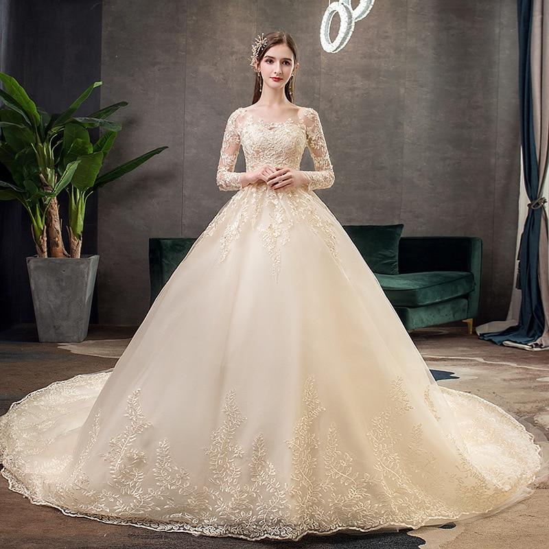 2021 فستان زفاف بأكمام طويلة مع قطار ، فستان أميرة فاخر من الدانتيل ، مقاس مخصص