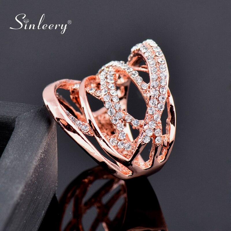 Sinleery moda multi círculos torcidos anéis largos rosa ouro cor prata mirco pavimentado claro cz pedra feminino jóias anel jz016 ssb