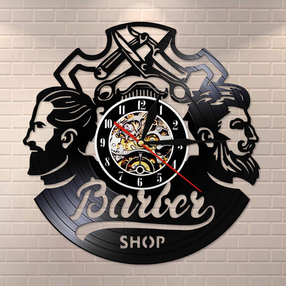 Barber Shop Logo Hair Salon Decor Vintage Vinyl Record Wall Clock Hair Accessories Hairdresser Wall Sign Decorative Wall Watch
