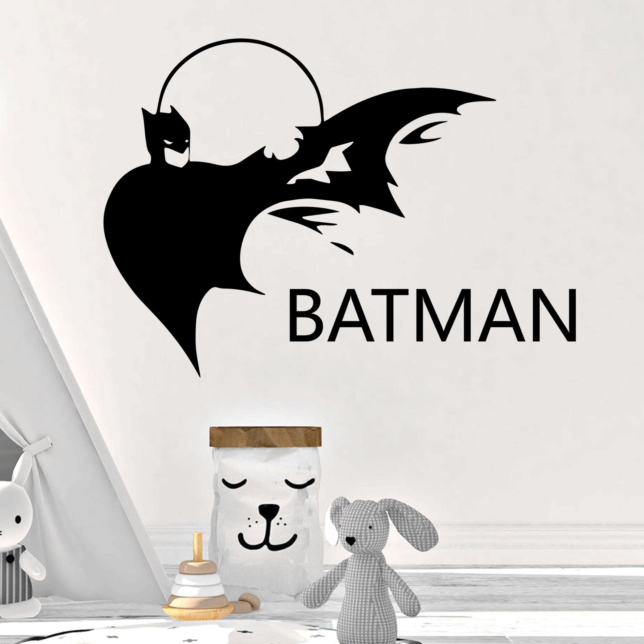 Free Shipping  Custom Name Batman Vinyl Wall Sticker Home Decor Stikers Vinyl Stickers Background Wall