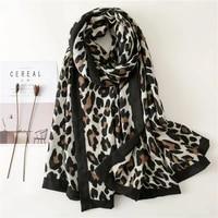 2021 new edging leopard scarf female winter gauze warm scarf travel big shawl silk scarf spring and autumn veil