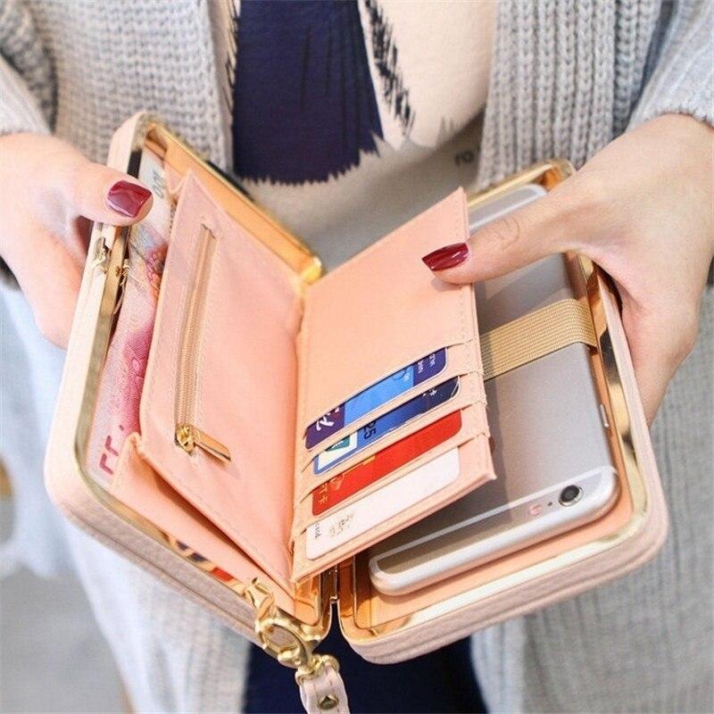 Женский кошелек, Женский кошелек, защелкивающийся Кошелек для монет, сумка для телефона, с бантом, много карт, держатель для карт, кошелек для женщин, роскошный, Billetera Mujer
