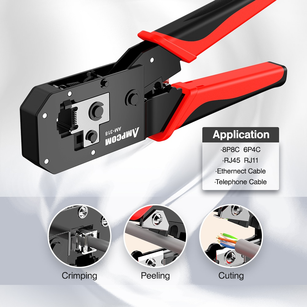 AMPCOM RJ45 Crimping Tool, 8P/6P-RJ11, RJ12 Crimper Cutter Stripper Crimper Cutter Stripper Plier enlarge