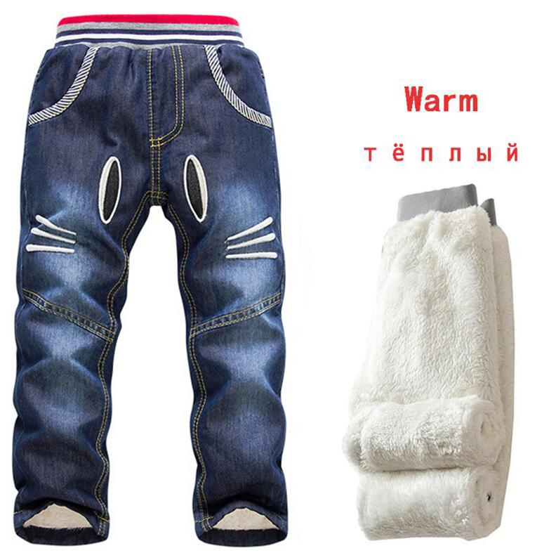Nuevo 2019 Baby Boy Jeans pantalones de invierno marca niños lavados pantalones vaqueros para niños dibujos animados pantalones largos Cascal agregar ropa de abrigo de lana