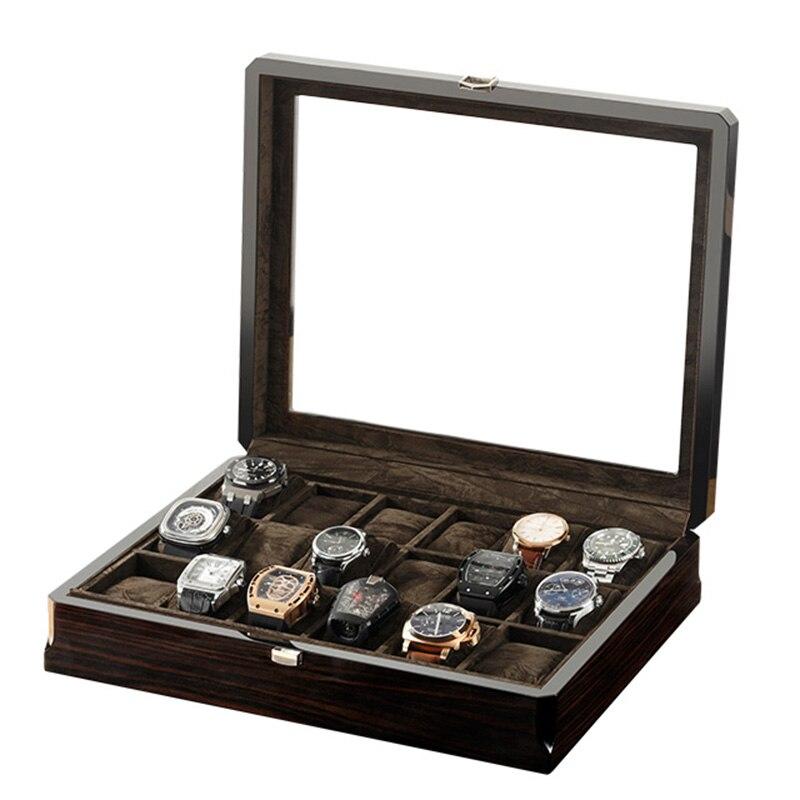 3 6 12 18 Slots Watch Box Wood Brown Organizer Case Glass Wooden Holder Open Window Jewelry Watches