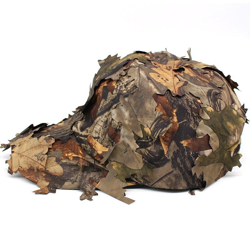 Sombrero de camuflaje biónico 3D, gorra de caza al aire libre, selva, bosque, escondite, hojas ciegas, sombrero de francotirador, sombrero de pesca, gorra de camuflaje para observar aves