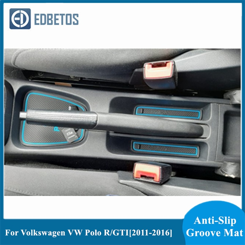 Ranhura portão Esteira Do Copo Para VW Polo R 2011 2012 2013 2014 2015 2016 2017 Anti-Slip Tapetes De Borracha para Volkswagen Polo GTI Acessórios
