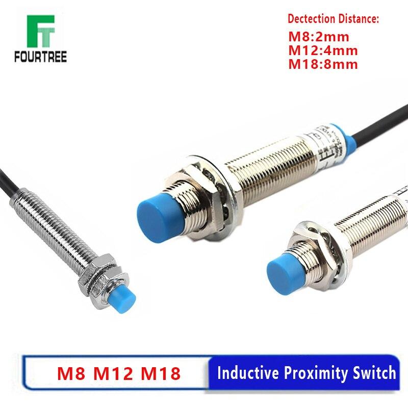 مستشعر النهج الحثي المعدني التبديل القرب PNP/NPN NO NC تيار مستمر 6-36 فولت التيار المتناوب 90-250 فولت نوع الدرع غير الشاشة عالية الرأس M8 M12 M18