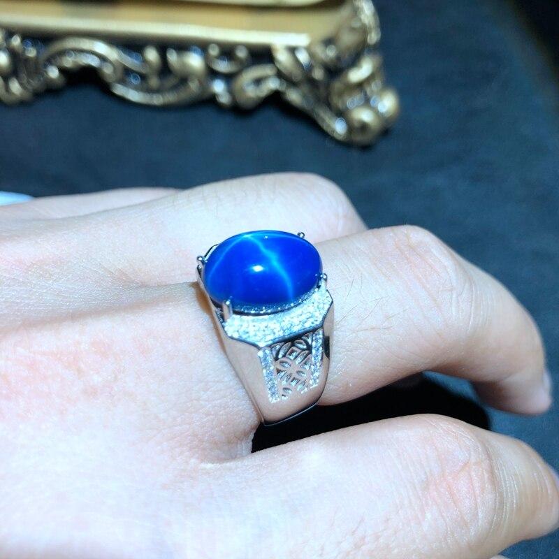 مدينا كول الرجال لامعة الأزرق ستار الياقوت جوهرة خاتم 925 الفضة والمجوهرات حجم كبير لامعة جوهرة شهادة هدية عيد ميلاد