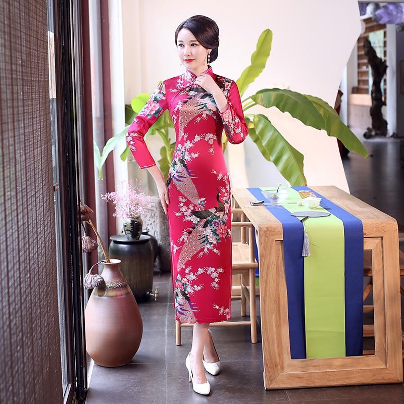 Ярко-розовое китайское женское сексуальное длинное платье-Ципао с длинным рукавом, Повседневное платье для женщин, платье с воротником-сто...